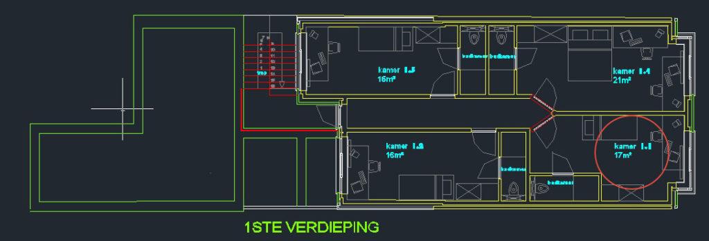 Wilgenstraat 45 - Kamer 11 - Grondplan