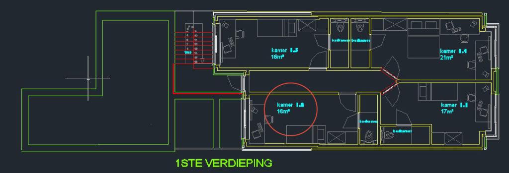 Wilgenstraat 45 - Kamer 12 - Grondplan