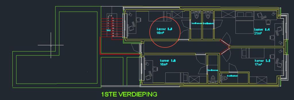 Wilgenstraat 45 - Kamer 13- Grondplan