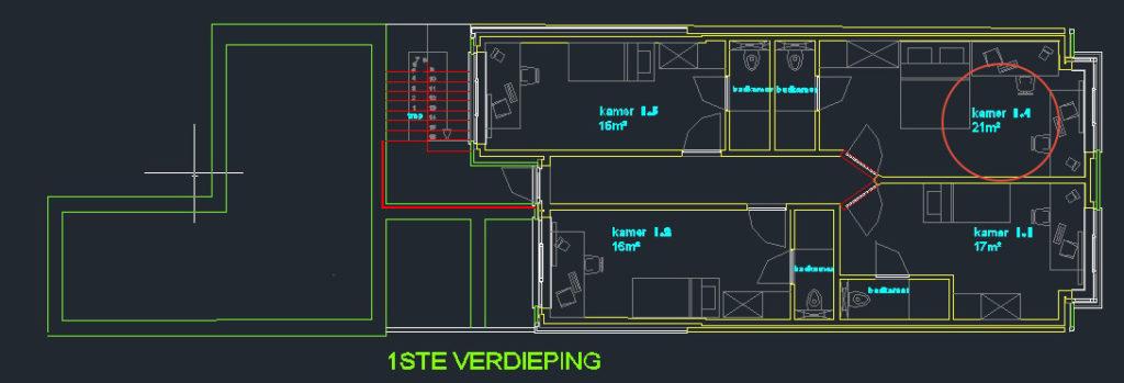 Wilgenstraat 45 - Kamer 14 - Grondplan