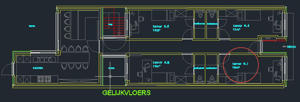 Wilgenstraat 45 - Kamer 1 - Grondplan