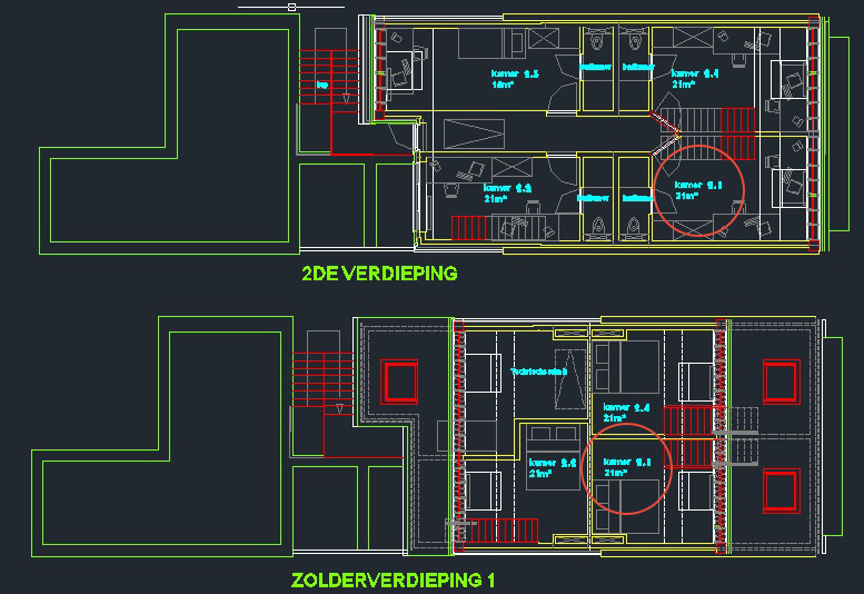 Wilgenstraat 45 - Kamer 21 - Grondplan