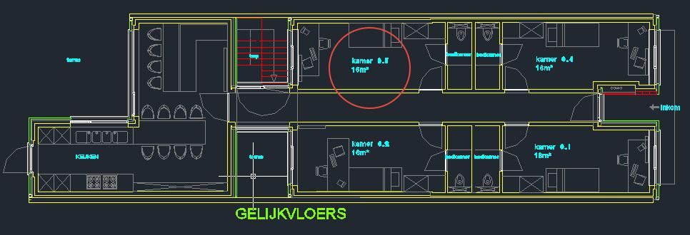 Wilgenstraat 45 - Kamer 3 - Grondplan