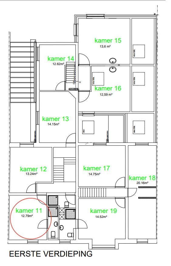 Wilgenstraat 49 - Kamer 11 - Grondplan