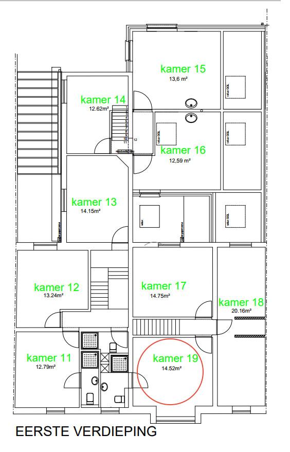 Wilgenstraat 49 - Kamer 19 - Grondplan